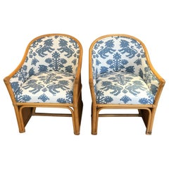 Pair of Vintage Barrel Shaped Bamboo Club Chairs with Schumacher Upholstery