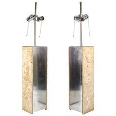 Modern Brutalist Style Table Lamps in Metal and Stone