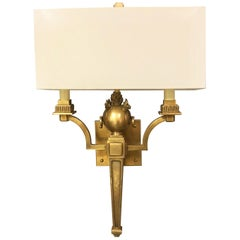 Pair of Neoclassical Brass Sconces with Flames and Rings