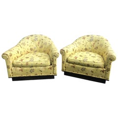 Pair of Milo Baughman Style Yellow Gold Scalamandre Midcentury Chairs