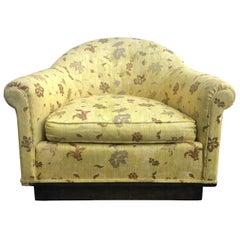 Milo Baughman Style Mid-Century Scalamandre Upholstered Barrel Chair Castors