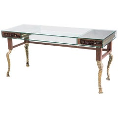 Cast Brass, Glass and Walnut Timber Big Crocco Desk by Egg Designs