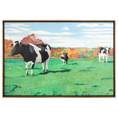"""Pat Jensen Oil on Canvas, """"Cowscape #7"""""""