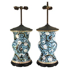 Chinese Qing Dynasty Yen-Yen Dragon Vase Table Lamps in Sky-Blue