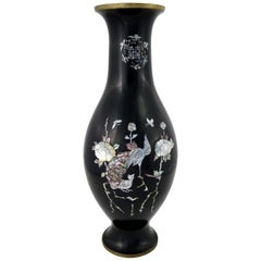 Black Lacquer with Inlaid Mother-of-Pearl Korean Bottle Vase Extra Large Footed
