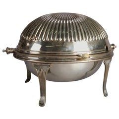 English Georgian Formal Silver Plate Serving Dish with Revolving Lid, circa 1920