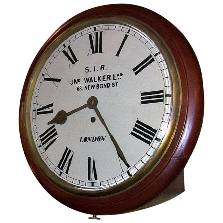 19th Century British 8 Day Fusee Railway Or School Wall Clock For