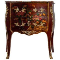 Louis XV Style Early 20th Century Lacquer Commode Flowers and Chinoiserie Scenes