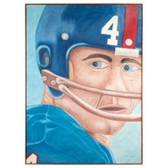 "Pat Jensen Oil on Canvas, ""Football, Head & Helmet"""