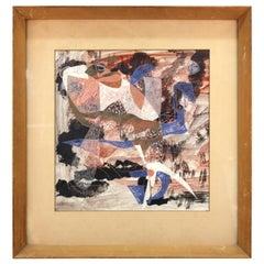 "Margaret Stark ""Flying Fish"" Abstract Modern Ink & Tempera Painting"
