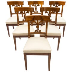 19th Century, Set of Six Solid Walnut Biedermeier Chairs