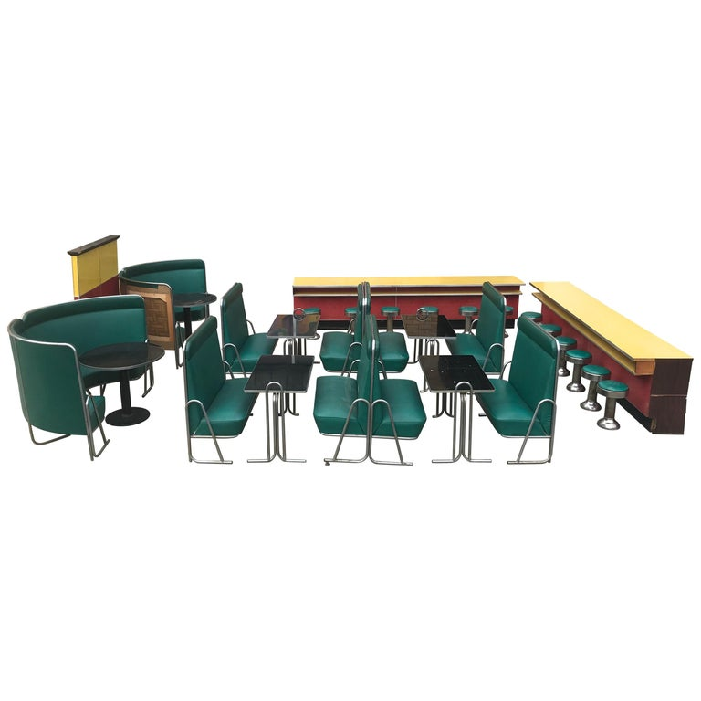Original Art Deco Diner, Seats 40 Designed by Wolfgang Hoffmann for Howell 1930s For Sale