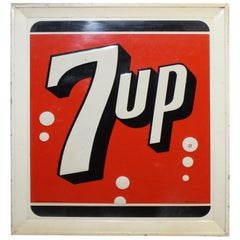 1964 7up Soda Tin Mounted Advertising Sign