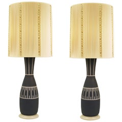 Mid-Century Modern Table Lamps with Illuminated Base in Blue and Milk Glass