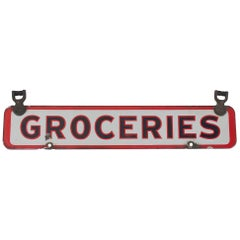 1930s Porcelain Double-Side Groceries Sign