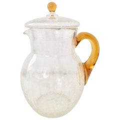 "Mid-Century American ""Crackle"" Blown Glass Beverage Pitcher"