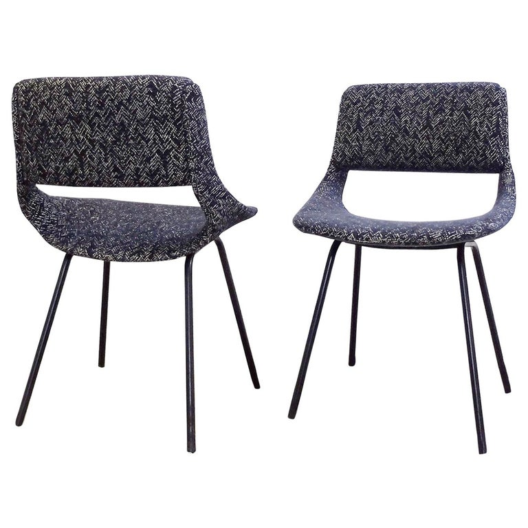 Pair of Chairs by Louis Paolozzi For Zol, New Upholstered For Sale