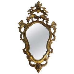 18th Century venetian Rococò gilded wood mirror in pure gold