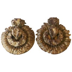 Pair of  Fine Architectural Gilded Wood Medallions, circa 1790