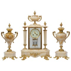 Antique French Four Glass Crystal Regulator Clock Set in Onyx and Ormolu