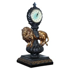 Vintage Regal Lion Standing Mantle Clock with Modern Clock Movement