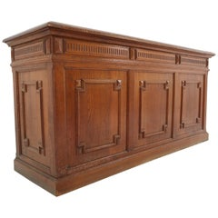 Antique Original French Oak Counter with Five Oak Drawers on the Back, 1890