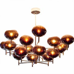 Donghia Renaldo Eighteen-Arm Chandelier, Murano Glass in Cognac and Chrome