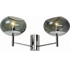 Donghia Renaldo Two-Arm Sconce, Murano Glass in Smoke & Chrome