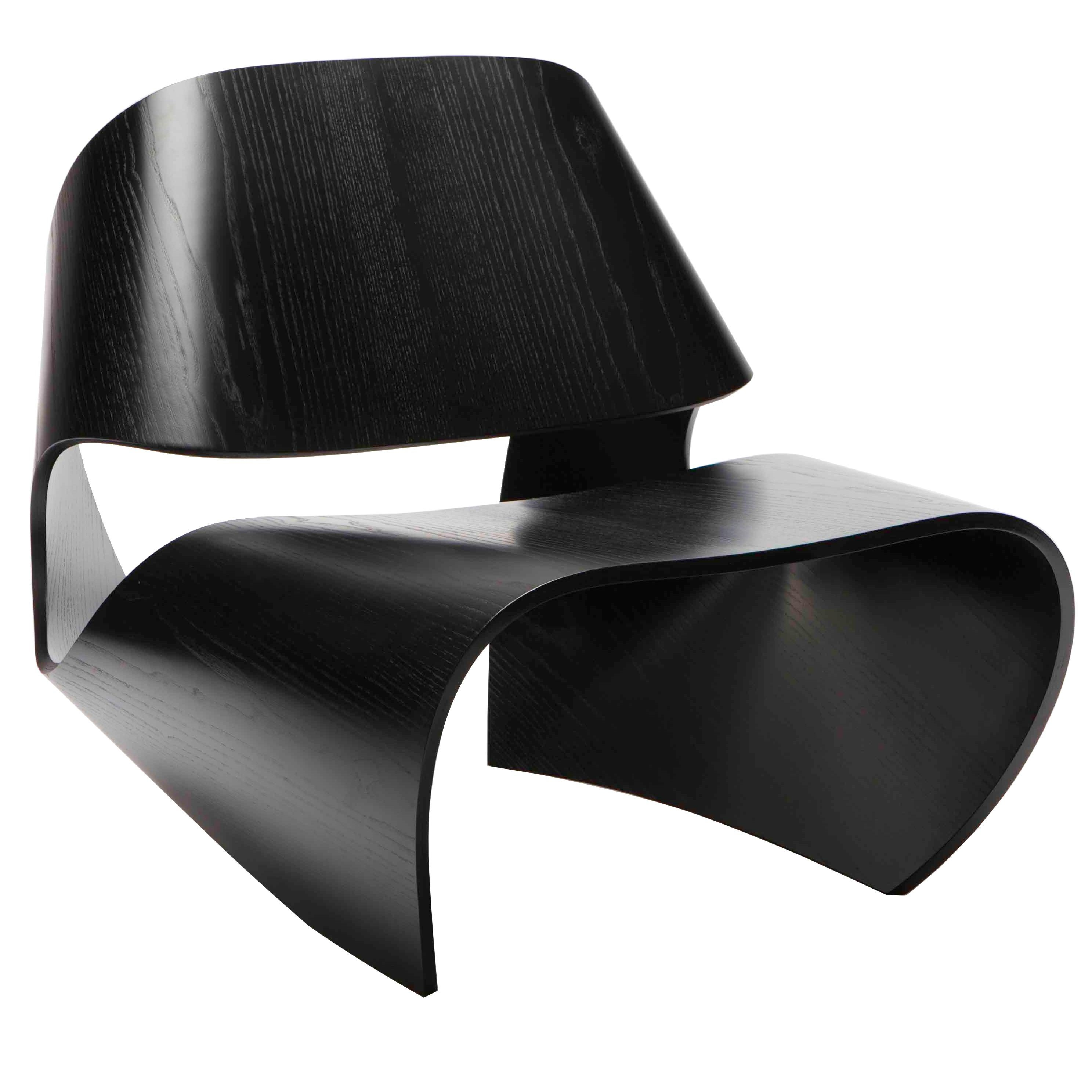 Cowrie, Ebonised Ash Veneered Bent Plywood Lounge Chair by Made in Ratio