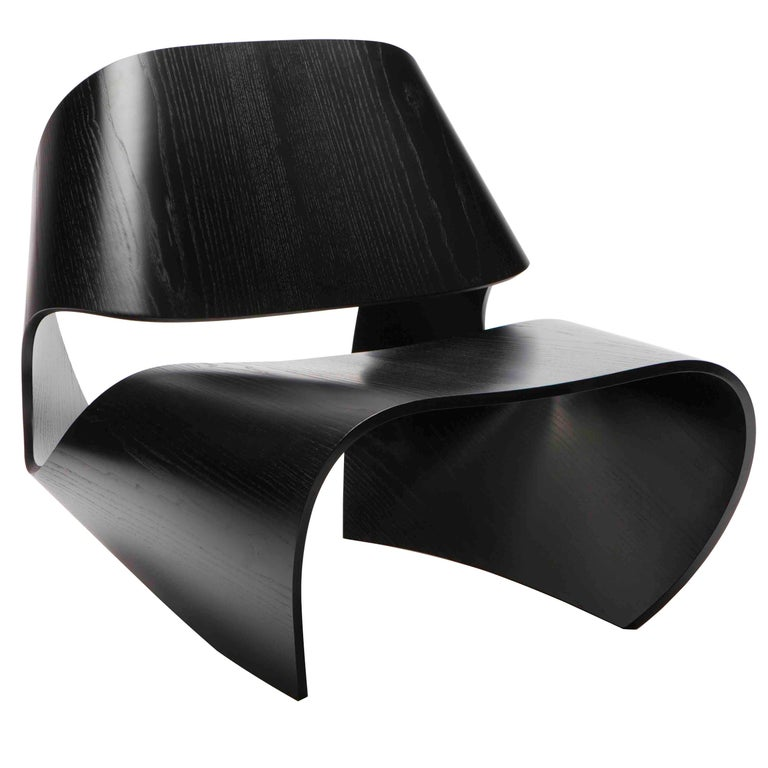 Cowrie, Ebonised Ash Veneered Bent Plywood Lounge Chair by Made in Ratio For Sale