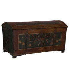 Antique Swedish Dome Top Trunk with Original Paint