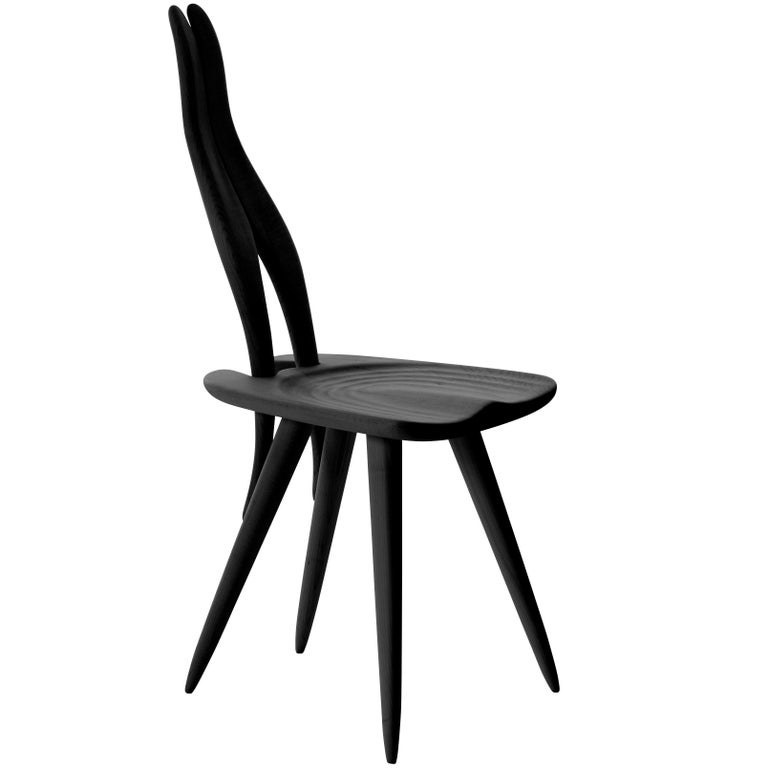 Fenis Side Chair in Black by Carlo Mollino For Sale