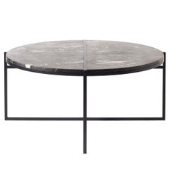 Contemporary Coffee Table, Silver Black Marble, Minimalist, Modern, Unique