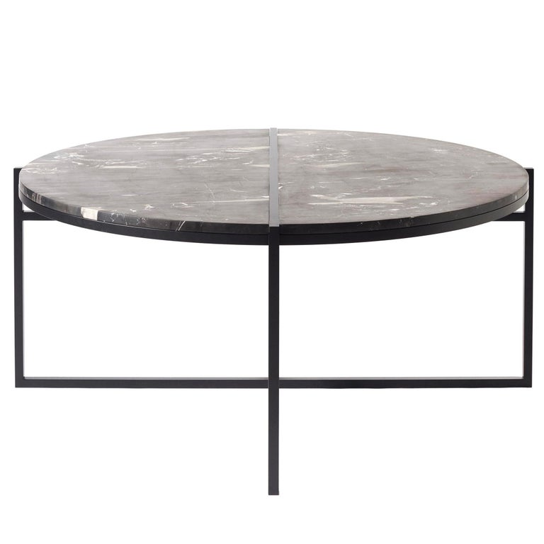 Modern Black Coffee Table For Sale: Contemporary Coffee Table, Silver Black Marble, Minimalist