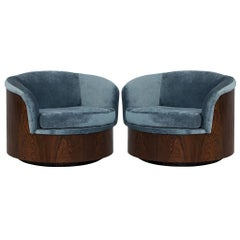 Pair of Milo Baughman Solid Wood Swivel Tub Chairs