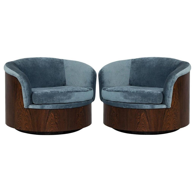 Phenomenal Pair Of Milo Baughman Solid Wood Swivel Tub Chairs Camellatalisay Diy Chair Ideas Camellatalisaycom