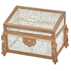 Unusual French Baroque Style Glass and Gilt Bronze Sloped Top Casket, circa 1850