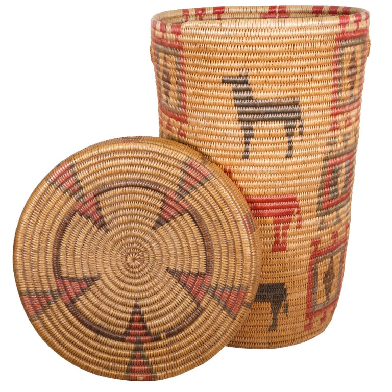 Jicarilla Apache Lidded Basket For Sale
