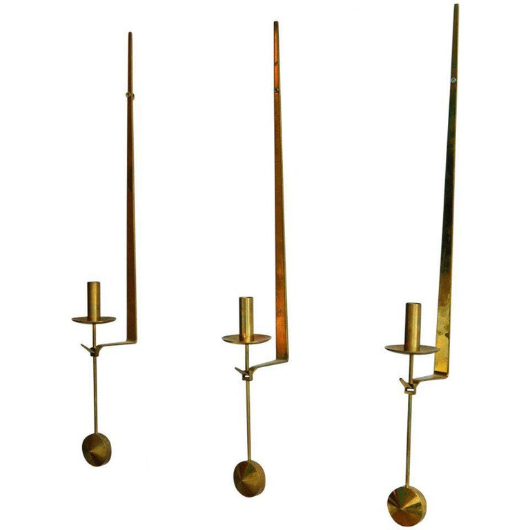 Midcentury Swedish Brass Pendel Candlesticks by Pierre Forsell For Sale