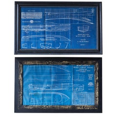 Pair of Nautical Blueprints of Vintage Boats