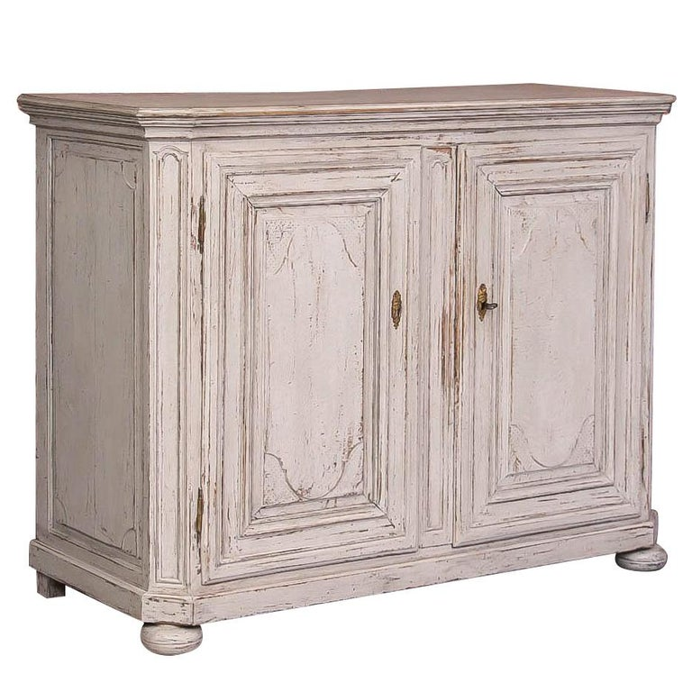 Antique French Oak Cabinet With Light Gray Paint For