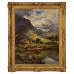 Henry Parker Oil Landscape Painting of Shepherd's Cottage