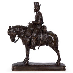 Emmanuel Fremiet Antique French Bronze Sculpture of a Soldier on Horseback