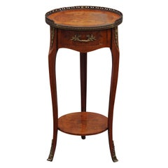 Wood Italian Side Table with Inlaid Marquetry Bronze Ormolu