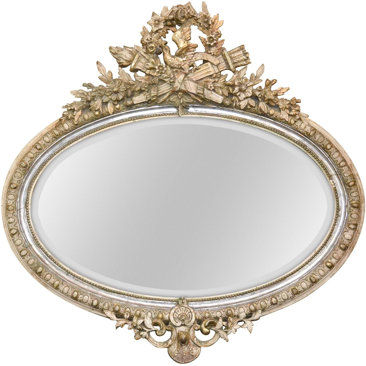 19th Century French Louis XVI Carved Oval Mirror