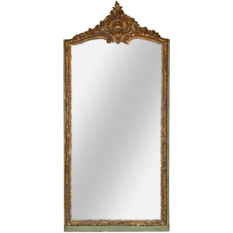 18th Century French Regence Parcel Gilt Mirror For Sale