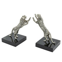 Leopard Set of Two Bookend in Silver Plated Brass