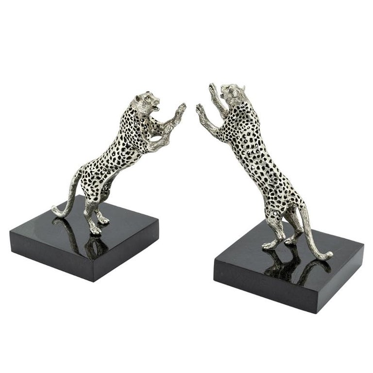 Leopard Set of Two Bookend in Silver Plated Brass For Sale
