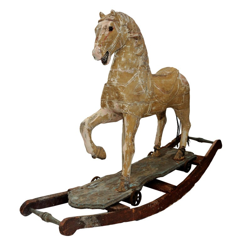 French 19th Century Rocking or Trolley Horse, circa 1870 For Sale