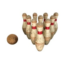 Antique Hand-Painted Wood Bowling Set